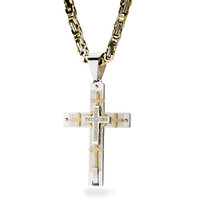 Mens Stainless Steel Gold Silver Box Chain Link Necklace Cross Pendant