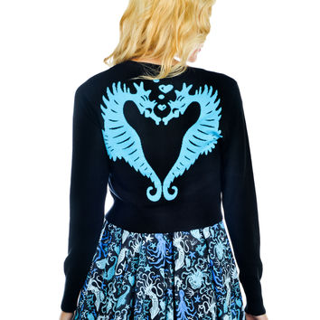 Sea Punk Seahorses in Love Blue Seahorse Cropped V-neck Cardigan