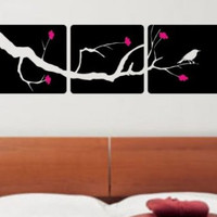 3 Panel Cherry Blossom Tree and Bird Decal Sticker Wall Modern Beautiful Boy