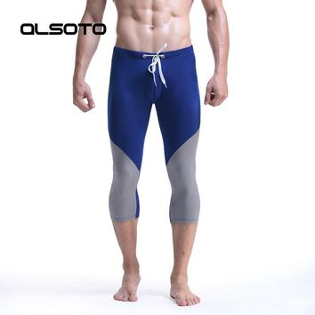 Men running trousers Body sculpting Sports fitness Tights Gym Clothing sexy Elastic Skinny Hombre Yoga capri pants Sportswear