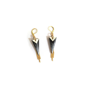Nikita Aztec Tribal Earrings W Gold Chains & Grey Hand Painted Spike