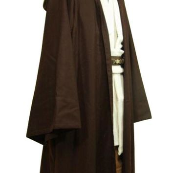 Star Wars Jedi Costume Adult Black Jedi Robe Hoodie Cloak Men Halloween Cosplay Star Wars Darth Vader Costume