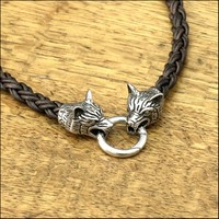 Viking Braid Leather Necklace With Tribal Wolf Heads and And Spring Connector Ring