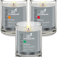 Art Naturals Aromatherapy Soy Wax 3 Piece Candle Set - Made proudly in the USA