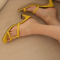 Yellow Strappy Mules