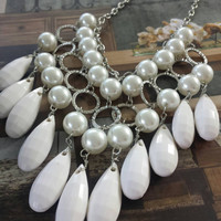 Statement Necklace,White Beaded Necklace, Dangling Necklace,White Pearls