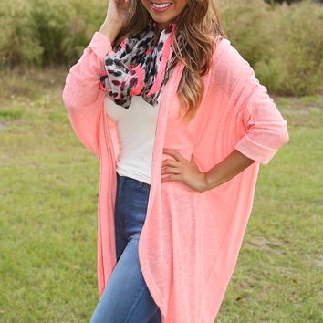 Caught Up In Neon Lights Cardigan: Neon Pink - One