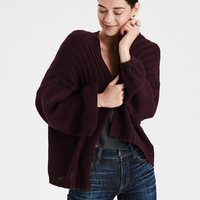 AE Slouchy Balloon Sleeve Cardigan, Bordeaux