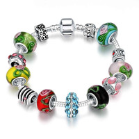 exo silver plated charm bracelet Multicolored beads one direction bijoux femme MP