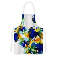 "Sonal Nathwani ""Blue Orange Floral"" Abstract Watercolor Artistic Apron"