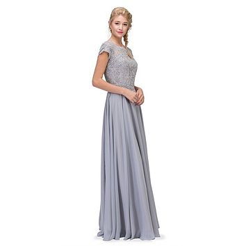 Silver Short Sleeves Applique Bodice A-Line Long Formal Dress