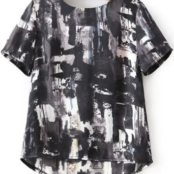 Black and White  Dip Hem Abstract Printed Blouse