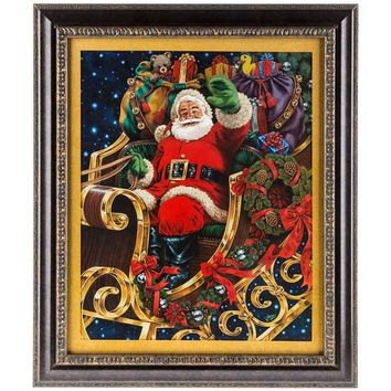 Santa in Sleigh with Toys Framed Art | Hobby Lobby