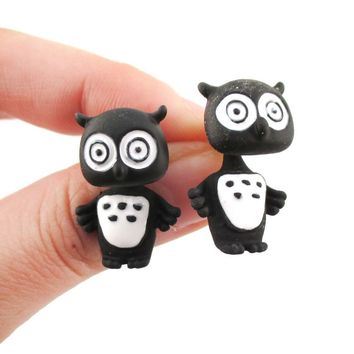 Owl Bird Shaped Two Part Front and Back Stud Earrings in Black and White