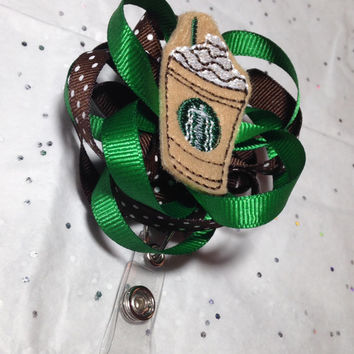 Starbucks Latte Retractable Badge Reel - Interchangeable Badge Reel - ID Badge Holder