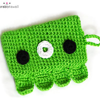 Cute Crochet Green Octopus Phone iPhone iPod Android Droid Cozy Case