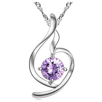 Women's Heart shape Sterling Silver Pendant& necklace