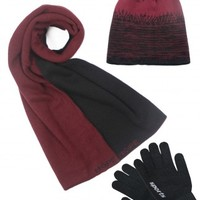 Dahlia Men's Scarf, Hat and Gloves Set - Reversible