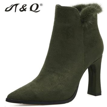 T&Q 2017 Faux Fur Boots Women Zip Pointed Toe Square Heel Short Boots 9cm High Heel Boots Brand Shoes Woman Army Green Pumps