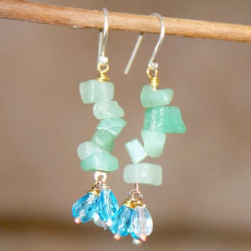 Green Drop Earrings, Blue Glass Earrings, Aventurine Earrings, Small Stone Earrings, Handmade Jewelry, Dangle Earrings