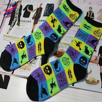 Cotton Socks Halloween Pattern Witch Cat Skull Print Sock long