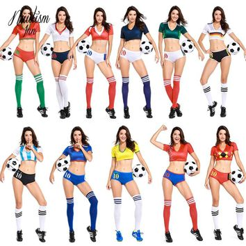 2018 New Football Baby Costume Women Russian World Cup Sexy Cheerleading Clothing Sports Costumes Uniform Ball Suit NT060