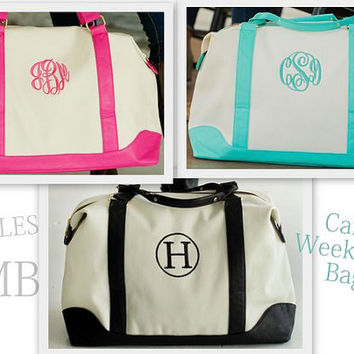 Monogrammed Canvas Weekender Bag Travel Overnight Personalized Luggage