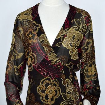 Chico's Sz 1 Wrap Sheer 100% Silk Top Gold Floral Lovely!