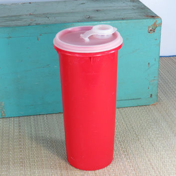 Red Tupperware Store and Pour Vintage Container with Lid