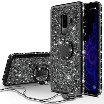 Samsung Galaxy S9 Plus Case, SM-G965U Case, Glitter Cute Phone Case Girls with Kickstand,Bling Diamond Rhinestone Bumper Ring Stand Sparkly Luxury Clear Thin Soft Protective Samsung Galaxy S9 Plus Case for Girl Women - Black