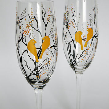 Hand painted Wedding Toasting Flutes Set of 2 Personalized Champagne glasses Black trees and canary yellow birds