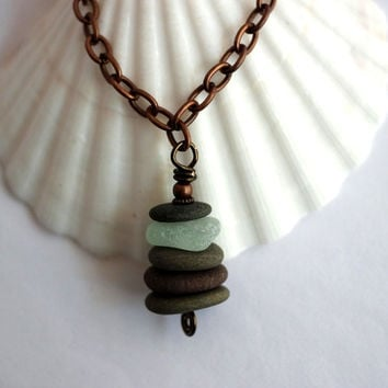 Stacked Stones Necklace Beach Stones Sea Glass River Rock Cairn Wire Wrapped Eco Friendly Jewelry by Hendywood