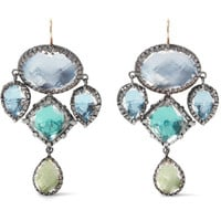 Larkspur & Hawk - Sadie Girandole rhodium-dipped quartz earrings