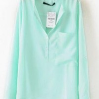 Green Long Sleeve Collarless Dipped Hem Blouse Shirt