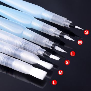 Refillable Flat Tip Water Brush Pen Assorted Tips for Watercolors Pen for Calligraphy Drawing Art Painting Supplies