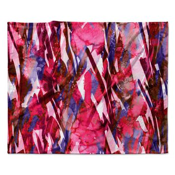 "Ebi Emporium ""Frosty Bouquet 5"" Maroon Abstract Fleece Throw Blanket"