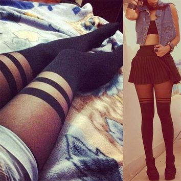 Hot New Sexy Women Girl Striped Thigh High Stockings Over The Knee Socks Nylon Pantyhose Shree For Dating Cosplay SW110