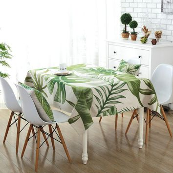 Green Rectangle Tablecloth Polyester Plant Leaves Printed Table Covers Dust Proof Thick Table Cloth Home Kitchen Decoration