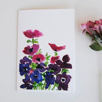 Anemone bouquet greeting card, Blank note card, anemone watercolor, mothers day, floral note card, Fuchsia purple, for grandma, for her