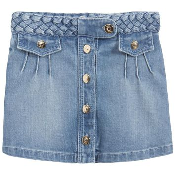 Chloe Girls Braided Blue Denim Skirt
