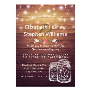 Rustic Wood Mason Jar String Lights Wedding Shower Card