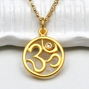 Diamond Om Pendant Necklace,Ohm, 24K Gold Vermeil Pendant,14K Gold-Filled Chain,Yoga Jewelry,Buddhist Jewelry,Ohm Pendant,Zen,Yoga Necklace
