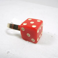 Upcycled Red Dice Ring / Adjustable ring / Vintage RED Die Jewelry / Red HOT / Vegas / Gambling / Las Vegas Trip / Atlantic City / Reno