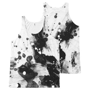 funky tee shirt black and white paint strokes All-Over print tank top