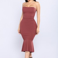 Magnifique Midi Dress - Red Brown