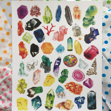 Crystal Confetti - Mineral Illustration Poster