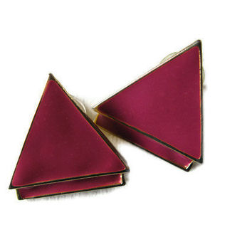 vintage triangle earring  triangle jewelry  by PulseVintage