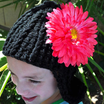 LOLA - Black Crochet Adult Size Wig Hat.  Hot Pink Flower that is removable & can be used as Hair Clip.