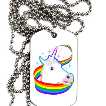 Magical Horn Rainbow Unicorn Adult Dog Tag Chain Necklace