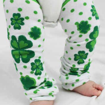 St. Patty's Day Baby Leg Warmers, Lucky Charm, 4 Leaf Clover, Hearts Polka Dots